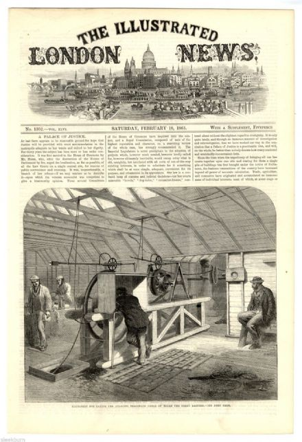 1865 Print GREAT EASTERN Atlantic Telegraph CABLE LOADING MACHINERY Medway ANTIQUE ENGRAVING
